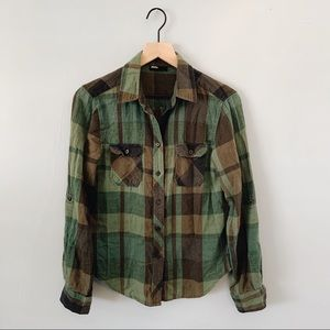 BDG Urban Outfitters Button Up Flannel Green